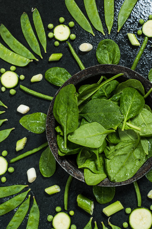 heathy: Green vegetables arranged, clean eating and heathy diet concept