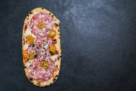 woodfired: salami and tomato wood fired pizza