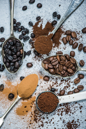 All types os coffee on vintage spoons