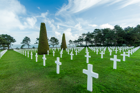 American War Cemetery near Omaha Beach, Normandy (Colleville-sur-Mer),France Stock Photo