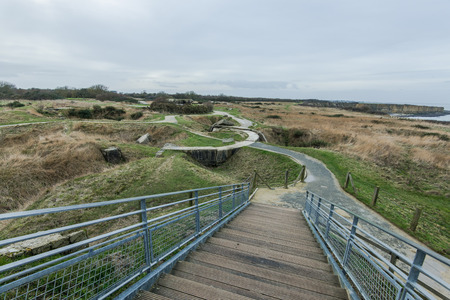 hoc: Pointe Du Hoc in Normandy, site of the Ranger invasion during World War II in France Stock Photo