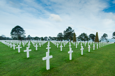 White marble cross on American Cemetery in Normandy,France Stock Photo