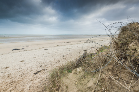 Utah Beach dunes in Normandy Wold War Two historic site from Overlord invasion landing in June 1944