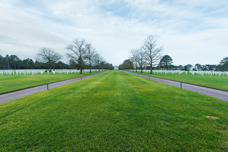 American Cemetery in Normandy Monument of fallen soldiers, France Stock Photo