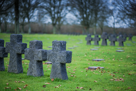 Fallen Soldiers Crosses at German Military Cemetery and Memorial in La Cambe, Normandy, France.