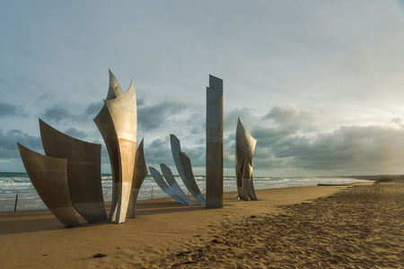 tombstones: Omaha Beach World War Two Overlord landing Memorial in Normandy,France.