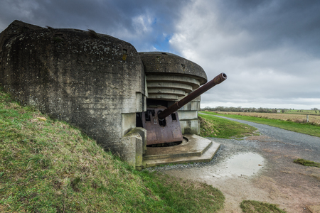 German bunkers and artillery in Normandy,France near Utah and Omaha Beach. Stock Photo