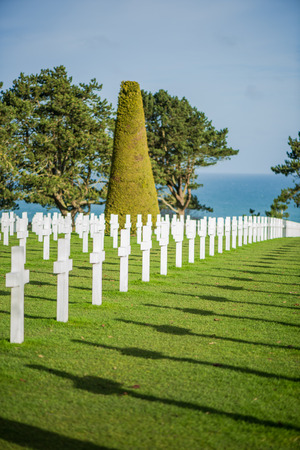american hero: White crosses in American Cemetery, Coleville-sur-Mer, Omaha Beach, Normandy, France. Editorial