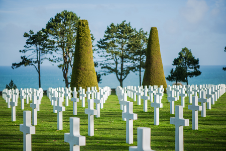 memorial cross: White crosses in American Cemetery, Coleville-sur-Mer, Omaha Beach, Normandy, France. Editorial