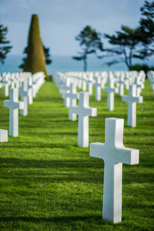 White crosses in American Cemetery, Coleville-sur-Mer, Omaha Beach, Normandy, France. Editorial