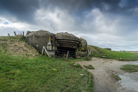 German battery, bunkers and guns in Normandy,France