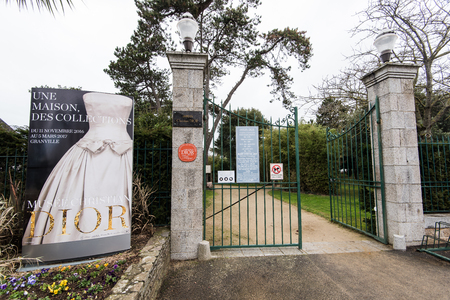 manche: Granville, France - January 12, 2017: The Christian Dior museum, Famous designer in the world . Home where he was born in Granville, France