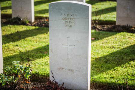 Tombstones in British and Commonwealth War Cemetery in Normandy,France