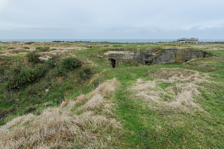 hoc: Point Du Hoc Normandy landing battle fields near Omaha Beach in France Stock Photo