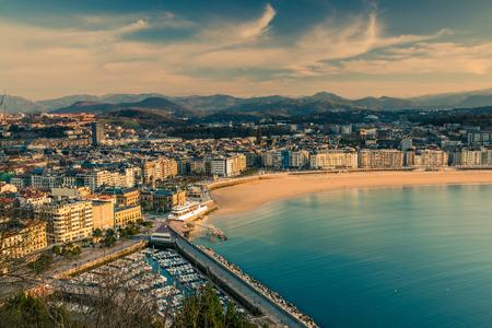 Panoramic vista over San Sebastian city and beach in Basque Country, Spain. Stock Photo