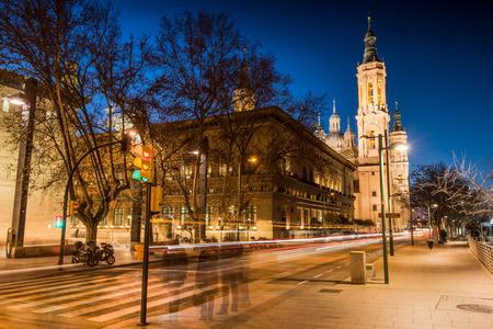 ebro: Basilica de Nuestra Senora del Pilar and Ebor River in the Evening, Zaragoza, Aragon, Spain Stock Photo
