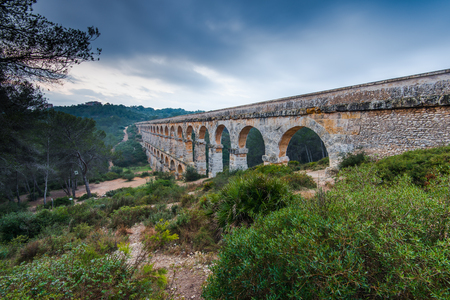 astonishing: Roman Ponte del Diable in tarragona,Spain at sunset