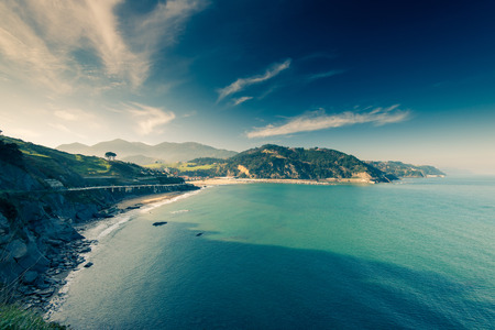 basque country: Costaline vista in Basque Country, Spain. Filtered image Stock Photo