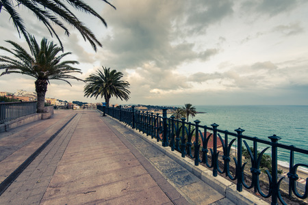 Mediterranean walk promenade in Tarragona,Spain Stock Photo