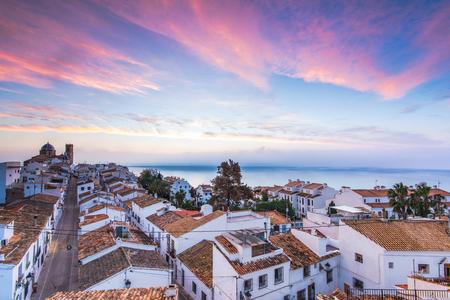 코스타 블랑 카, 스페인에서 일몰 Altea 화이트 하우스