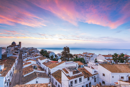 Altea white houses at sunset in Costa Blanca, Spain