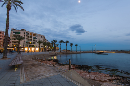Cityscape of Torrevieja in Spain, popular tourist destination. Evening blue hour view Stock Photo