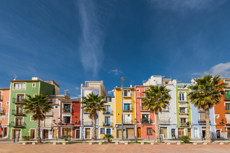 Colorful houses in Villajoyosa in Spain, main tourist attraction and destination on Costa Blanca. Stock Photo