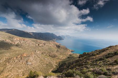 Panoramic vista on hills in Murcia coast in Spain