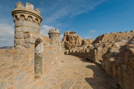 Fort in Cabo Tinoso Cartagena Guns near Mazarron Murcia Spain at sunny day. Editorial