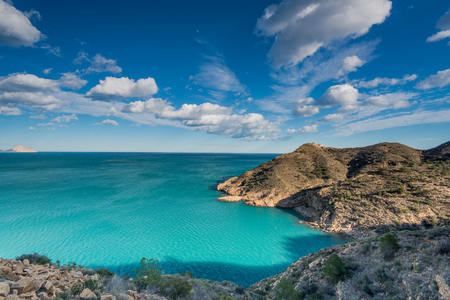 albir: Mediterranean seascape at sunny day on Costa Blanca in Spain Stock Photo