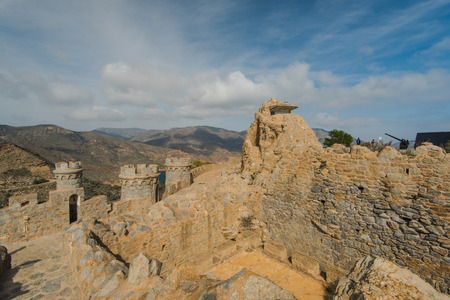 Fort in Cabo Tinoso Cartagena Guns near Mazarron Murcia Spain at sunny day. Stock Photo