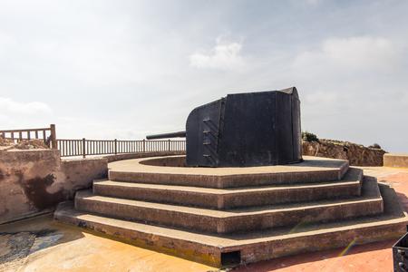 Ruins of Cabo Tinoso Cartagena Guns near Mazarron Murcia Spain at sunny day. Editorial