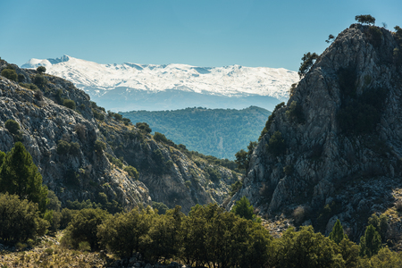 Vista over Sierra Nevada National Park, Spain Stock Photo