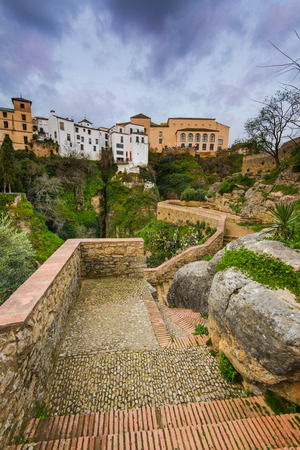 Hanging houses on gorge in Ronda, Spain Stock Photo