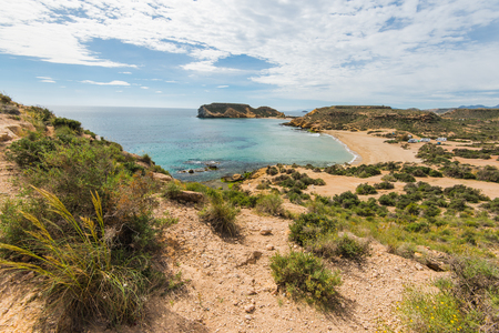 mediterranean beach on spanish costa tropical. natural and wild undiscovered place hidden from turist Stock Photo