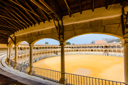 view from auditorium on most famous and oldest bullring in Ronda, Spain