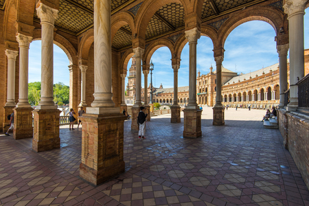 Sevilla, Spain - April , 2017: Plaza de Espana in Sevilla, most famous and beautiful touristic place to visit. Фото со стока