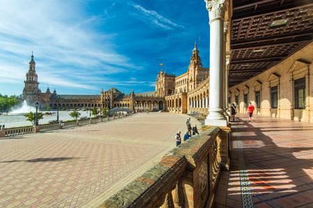 Sevilla, Spain - April , 2017: Plaza de Espana in Sevilla, most famous and beautiful touristic place to visit. Editorial