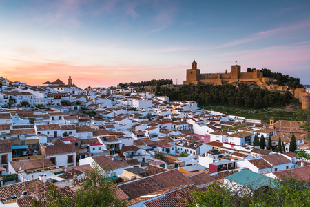 Panoramic cityscape of Antequera at twilight, Spain Foto de archivo