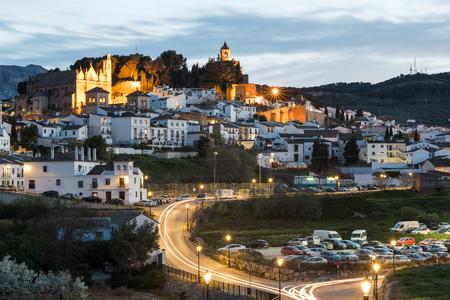 Illuminated night cityscape of Antequera,Spain