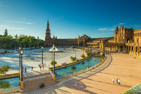Sevilla, Spain - April , 2017: Plaza de Espana in Sevilla, most famous and beautiful touristic place to visit. Редакционное