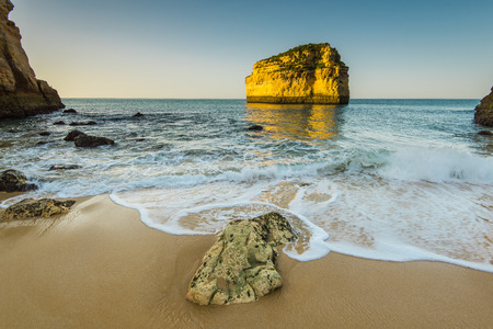 portugese: Sandy beach and cliffs in Algarve Atlantic coast, Portugal Stock Photo