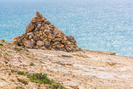 Rocks on turist foot patch on ALgarve coast, Portugal Stok Fotoğraf - 76841814