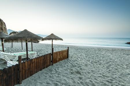 nerja: Beach in Nerja, Spain
