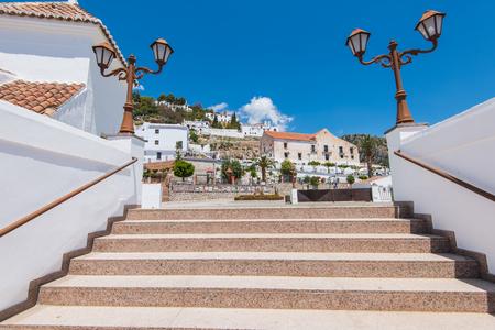 Historic streets of famous Frigiliana,Malaga province,Spain. Frigiliana is white village near Nerja. Stock Photo