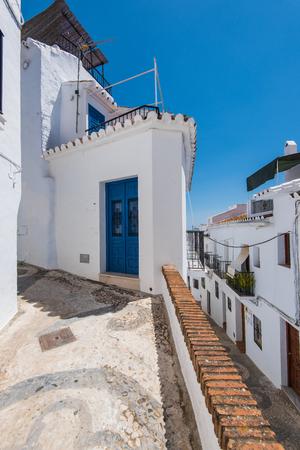 nerja: Charming narrow historic streets of white village Frigiliana in Malaga province,Andalusia,Spain