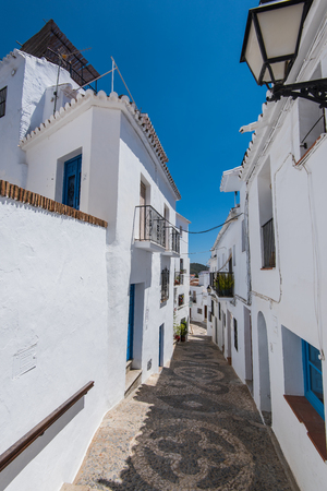 Charming narrow historic streets of white village Frigiliana in Malaga province,Andalusia,Spain