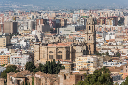 Malaga, Spain - April 20, 2017: Cityscape of Malaga with famous Cathedral. Editorial