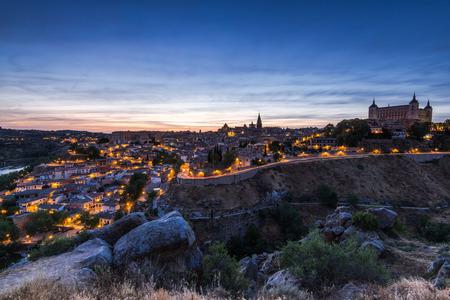 Illuminated townscape of Toledo at twilight,Spain