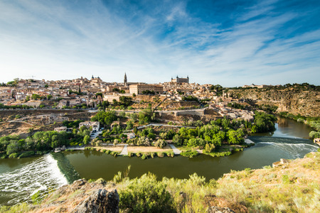 Vista over Toledo city and river Tagus, Spain
